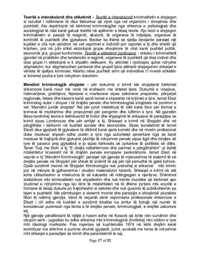 Teoritë e interaksionit dhe etiketimit - Teoritë e interaksionit kriminalitetin e shpjegonsi rezultat i ndikimeve të disa ...