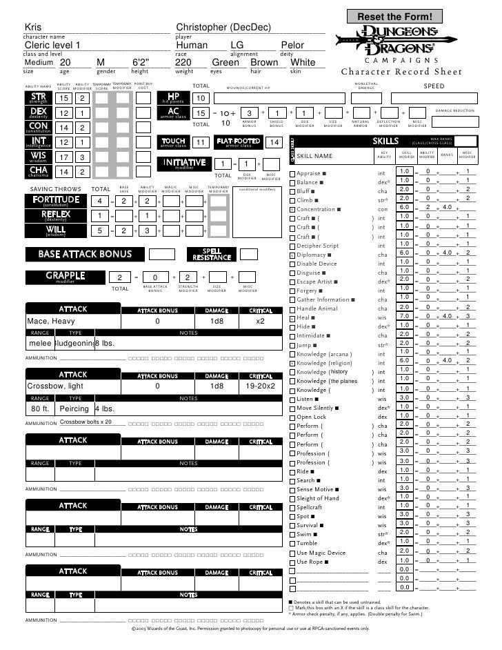 Dungeons And Dragons 3.5 Character Sheet Pdf