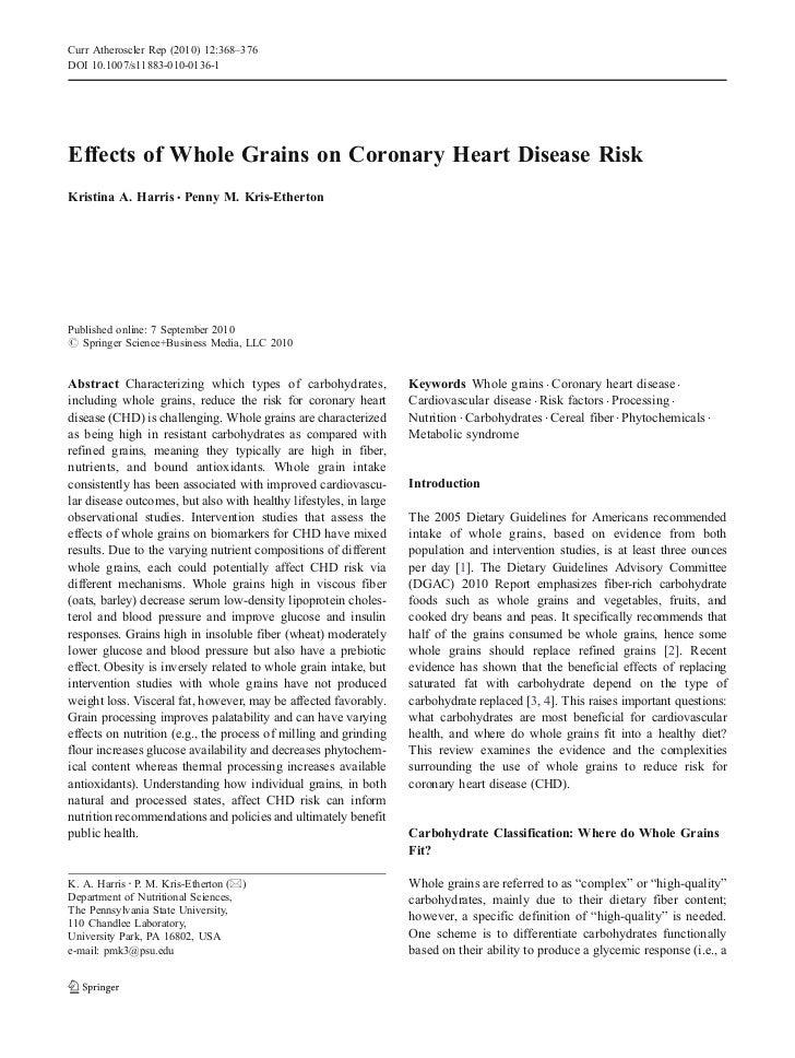 Curr Atheroscler Rep (2010) 12:368–376DOI 10.1007/s11883-010-0136-1Effects of Whole Grains on Coronary Heart Disease RiskK...