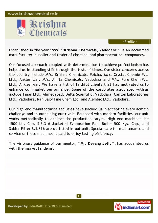 Krishna Chemicals, Vadodara, Chemical And Pharmaceutical Compounds Slide 2