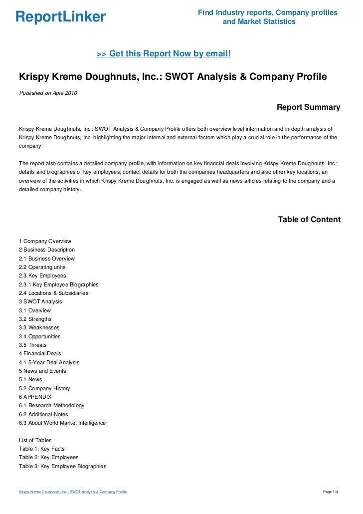 krispy kreme case study swot analysis