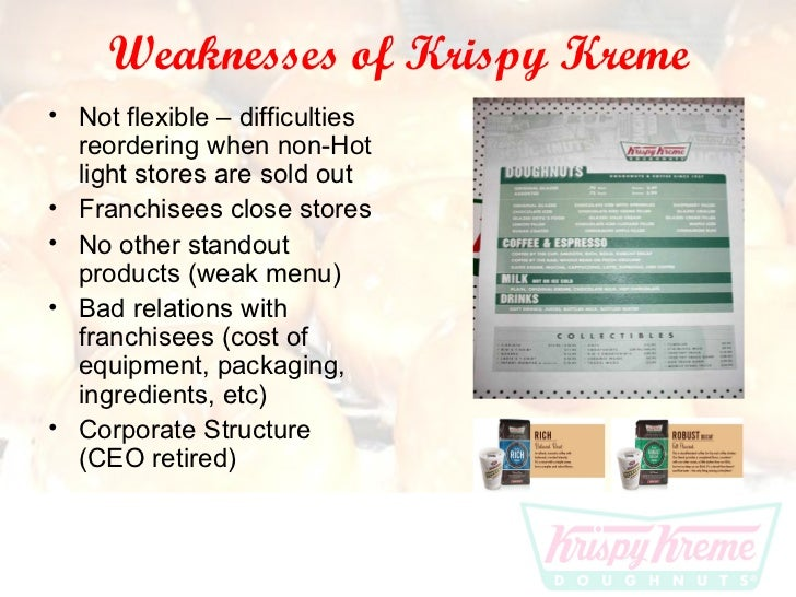 swot analysis for krispy kreme With 181 krispy kreme stores in 28 states,  drilling students in swot analysis having students do a serious assessment of a company's financial performance, the.