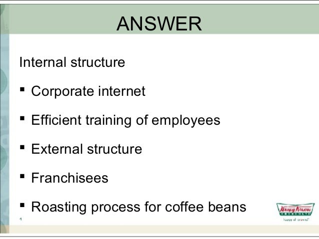 type of organizational structure for krispy kreme Essay on krispy kreme marketing with advertising barbon professor tito business 101 15 february 2015 krispy kreme: marketing without advertising since 1937, krispy kreme has been preparing its classic original glaze donut but what separates them from other major retail companies is the way they are able to market without advertising.