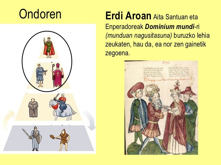 Ondoren Erdi Aroan  Aita Santuan eta Enperadoreak  Dominium mundi -ri  (mundua n  nagusitasuna)  buruzko lehia zeukaten, h...