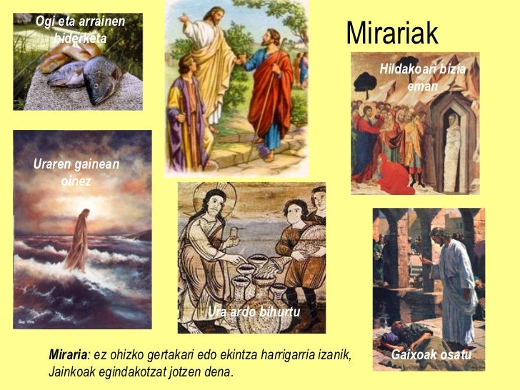 Mirariak Miraria : ez ohizko gertakari edo ekintza harrigarria izanik, Jainkoak egindakotzat jotzen dena. Ogi eta arrainen...