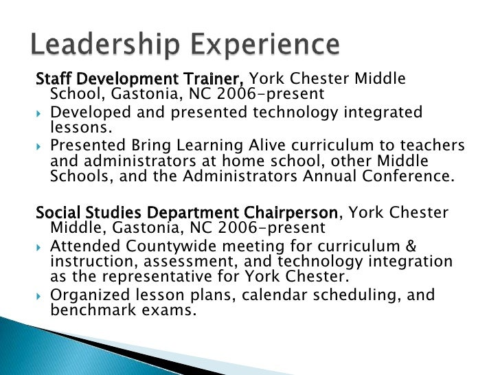 Staff Development Trainer, York Chester Middle School, Gastonia, NC 2006-present<br />Developed and presented technology i...