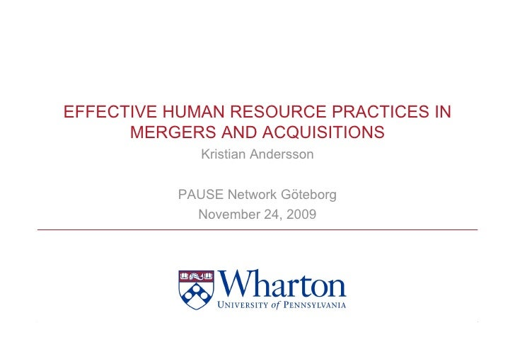 EFFECTIVE HUMAN RESOURCE PRACTICES IN       MERGERS AND ACQUISITIONS              Kristian Andersson            PAUSE Netw...