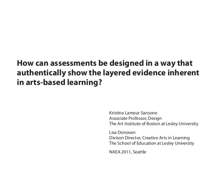 How can assessments be designed in a way thatauthentically show the layered evidence inherentin arts-based learning?      ...