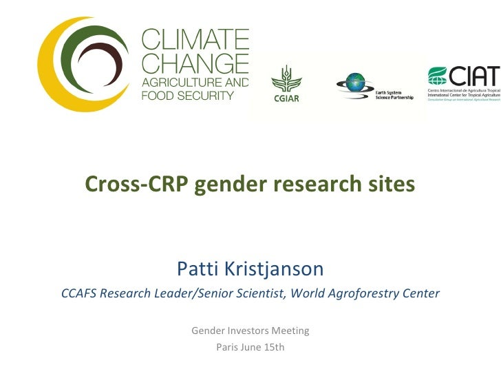 Cross-CRP gender research sites                   Patti KristjansonCCAFS Research Leader/Senior Scientist, World Agrofores...