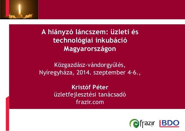 A hiányzó láncszem: üzleti és  technológiai inkubáció  Magyarországon  Közgazdász-vándorgyűlés,  Nyíregyháza, 2014. szepte...
