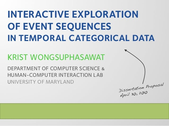 INTERACTIVE EXPLORATIONOF EVENT SEQUENCESIN TEMPORAL CATEGORICAL DATAKRIST WONGSUPHASAWATDEPARTMENT OF COMPUTER SCIENCE &H...
