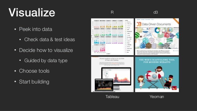 Visualize  • Peek into data  • Check data & test ideas  • Decide how to visualize  • Guided by data type  • Choose tools  ...