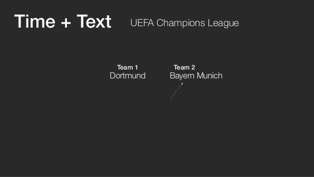 UEFA Champions League  Team 1 Team 2  Dortmund Bayern Munich  Count Tweets mentioning  the teams every minute  Time + Text