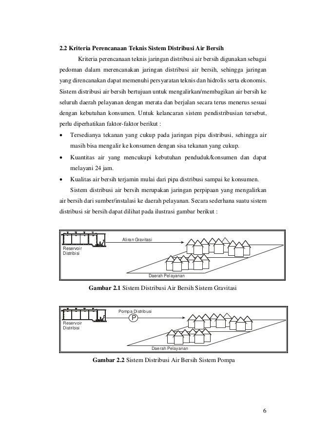 6 2.2 Kriteria Perencanaan Teknis Sistem Distribusi Air Bersih Kriteria perencanaan teknis jaringan distribusi air bersih ...