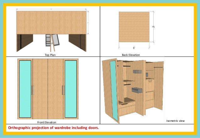 Plan Elevation Projection : Kritika heda b sc erior design wardrobe planning work