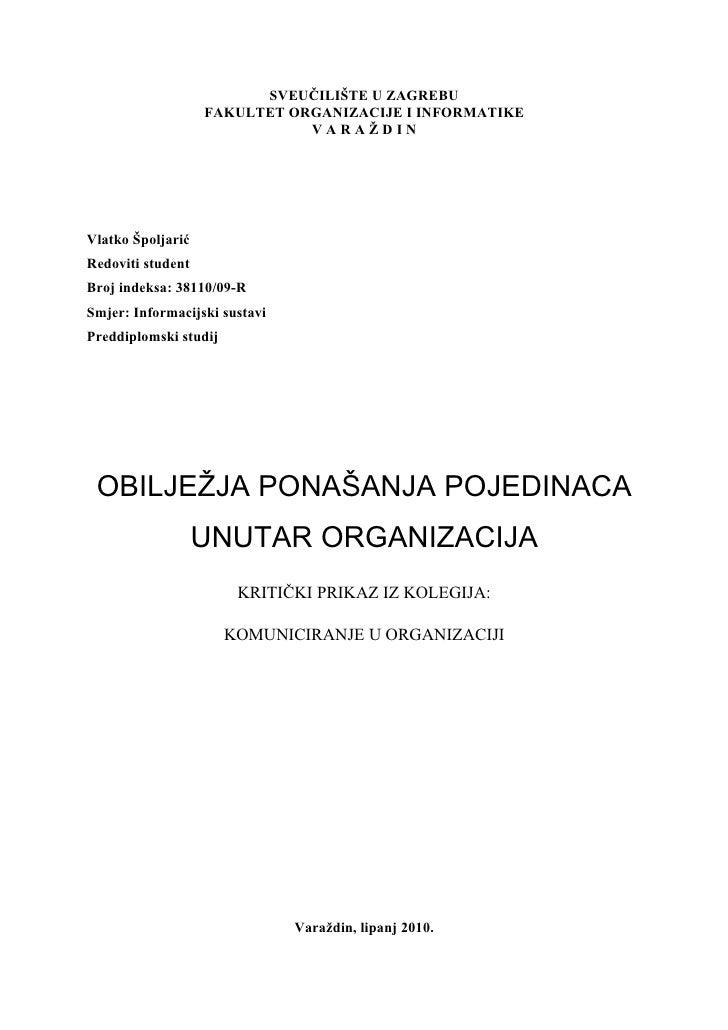 SVEUČILIŠTE U ZAGREBU                    FAKULTET ORGANIZACIJE I INFORMATIKE                               VARAŽDIN     Vl...
