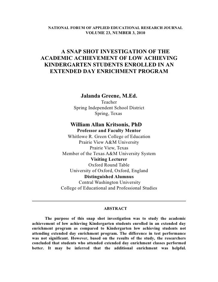 NATIONAL FORUM OF APPLIED EDUCATIONAL RESEARCH JOURNAL                            VOLUME 23, NUMBER 3, 2010              A...