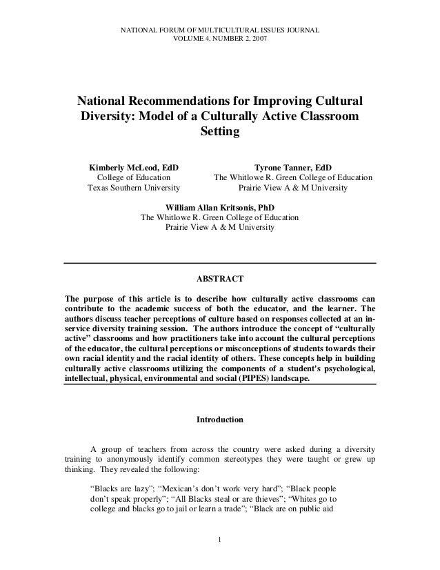 NATIONAL FORUM OF MULTICULTURAL ISSUES JOURNALVOLUME 4, NUMBER 2, 20071National Recommendations for Improving CulturalDive...