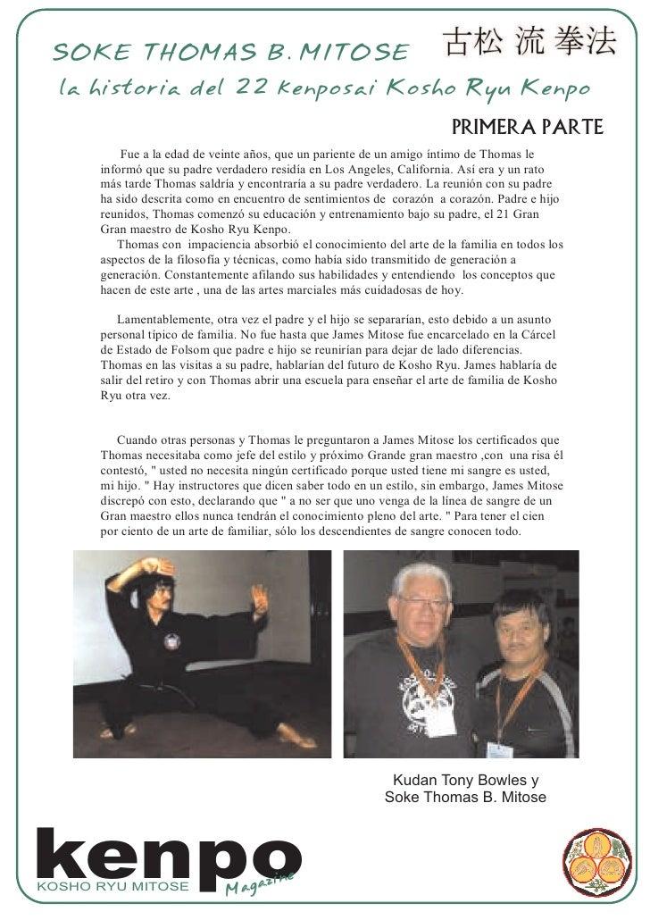 SOKE THOMAS B. MITOSE   la historia del 22 kenposai Kosho Ryu Kenpo                                                       ...