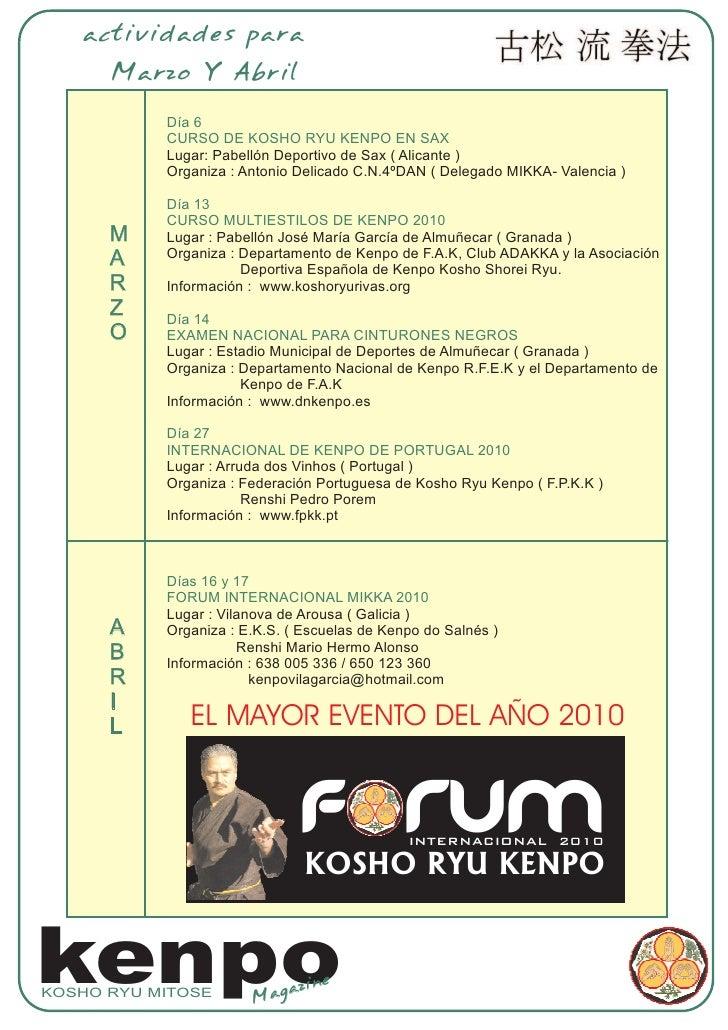 actividades para       Marzo Y Abril             Día 6            CURSO DE KOSHO RYU KENPO EN SAX            Lugar: Pabell...