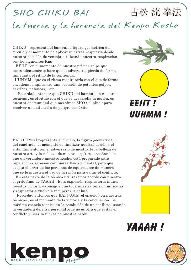 SHO CHIKU BAI la fuerza y la herencia del Kenpo Kosho  CHIKU : representa el bambú, la figura geométrica del círculo y el ...