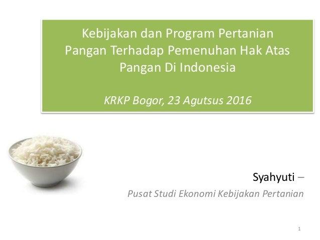 Kebijakan dan Program Pertanian Pangan Terhadap Pemenuhan Hak Atas Pangan Di Indonesia KRKP Bogor, 23 Agutsus 2016 Syahyut...