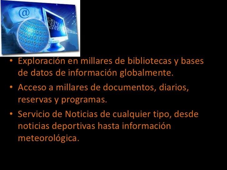 Exploración en millares de bibliotecas y bases de datos de información globalmente.<br />Acceso a millares de documentos, ...