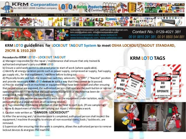 Lockout Tagout Guidelines