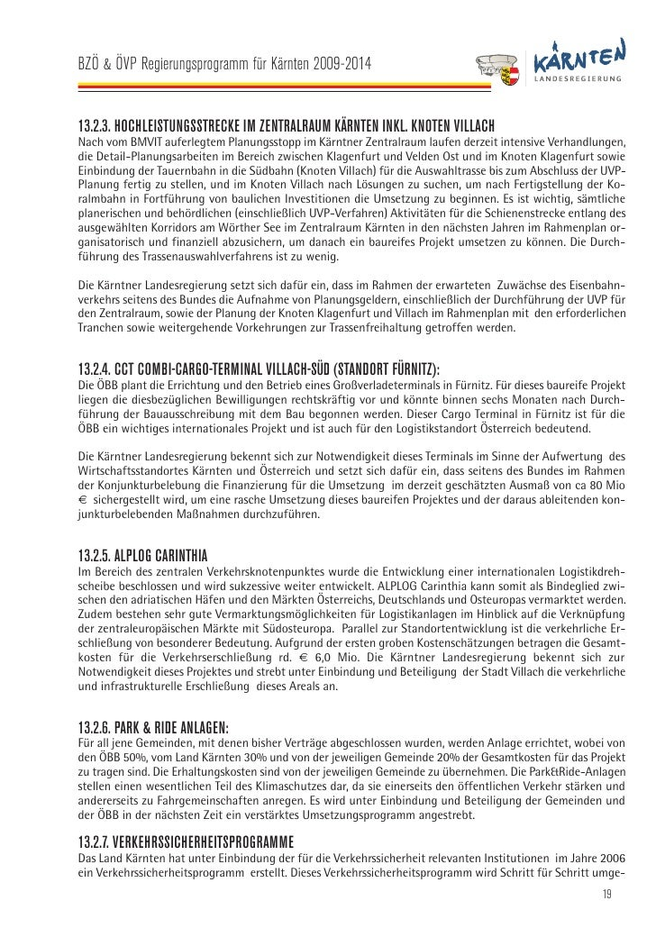 BZÖ & ÖVP Regierungsprogramm für Kärnten 2009-2014   setzt und soll unter Berücksichtigung nachstehender Schwerpunkte eval...