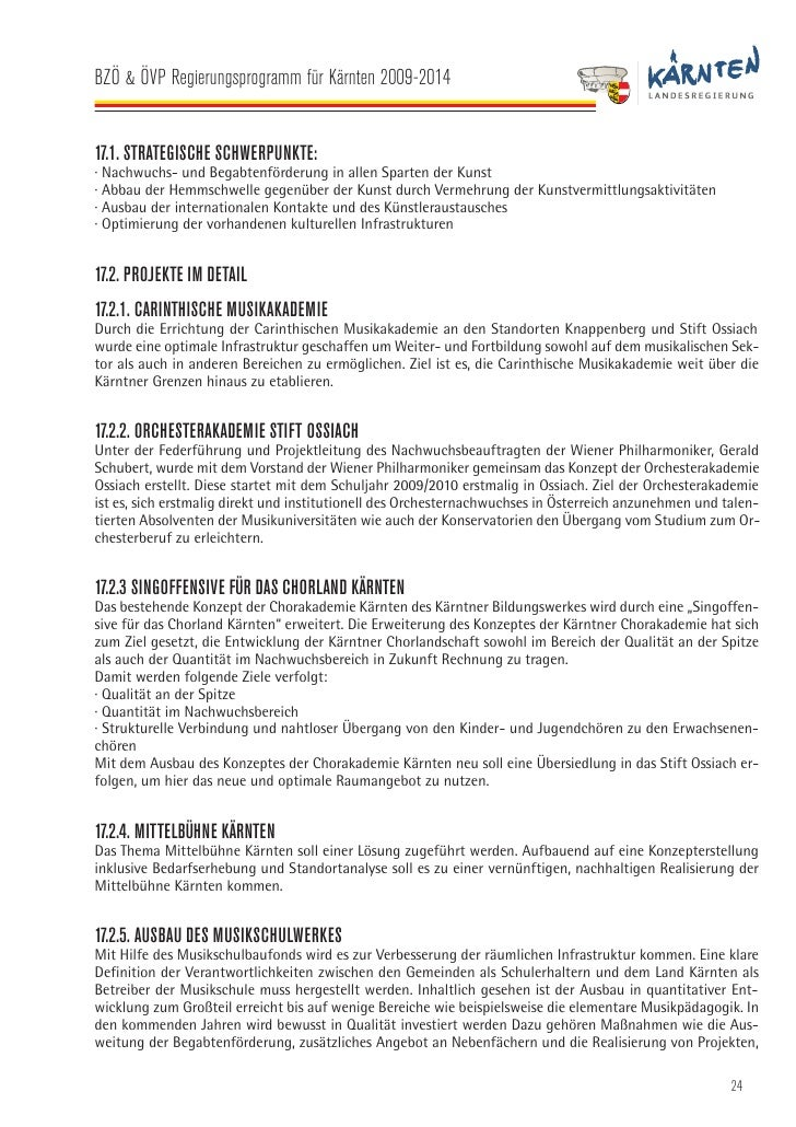 BZÖ & ÖVP Regierungsprogramm für Kärnten 2009-2014   die bei der musizierenden Jugend einen lebenslangen Eindruck hinterla...