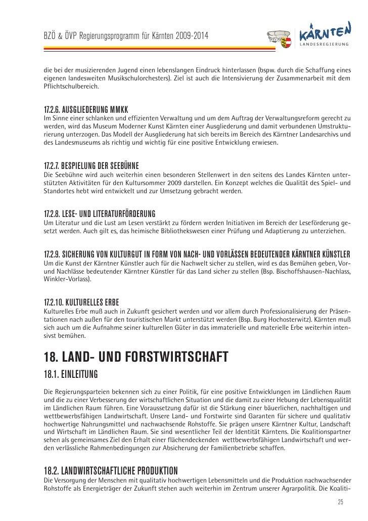 BZÖ & ÖVP Regierungsprogramm für Kärnten 2009-2014   onspartner verpflichten sich bei ihren Entscheidungen auf die Planbar...