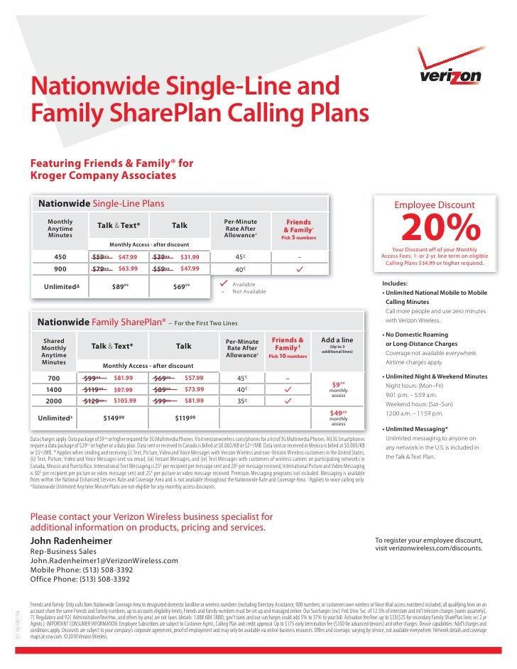 Nationwide Single-Line and              Family SharePlan Calling Plans              Featuring Friends & Family® for       ...