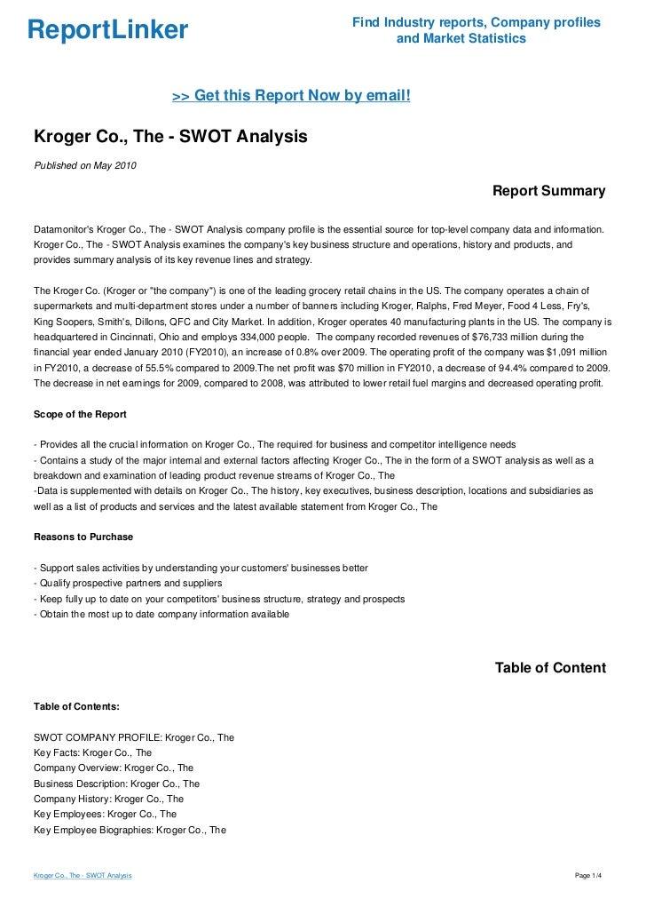 Kroger SWOT Analysis / Matrix