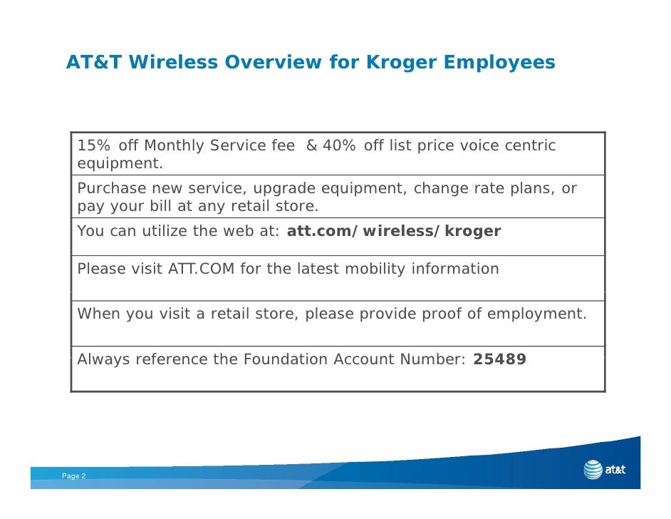 AT&T Wireless Overview for Kroger Employees       15% off Monthly Service fee & 40% off list price voice centric    equipm...