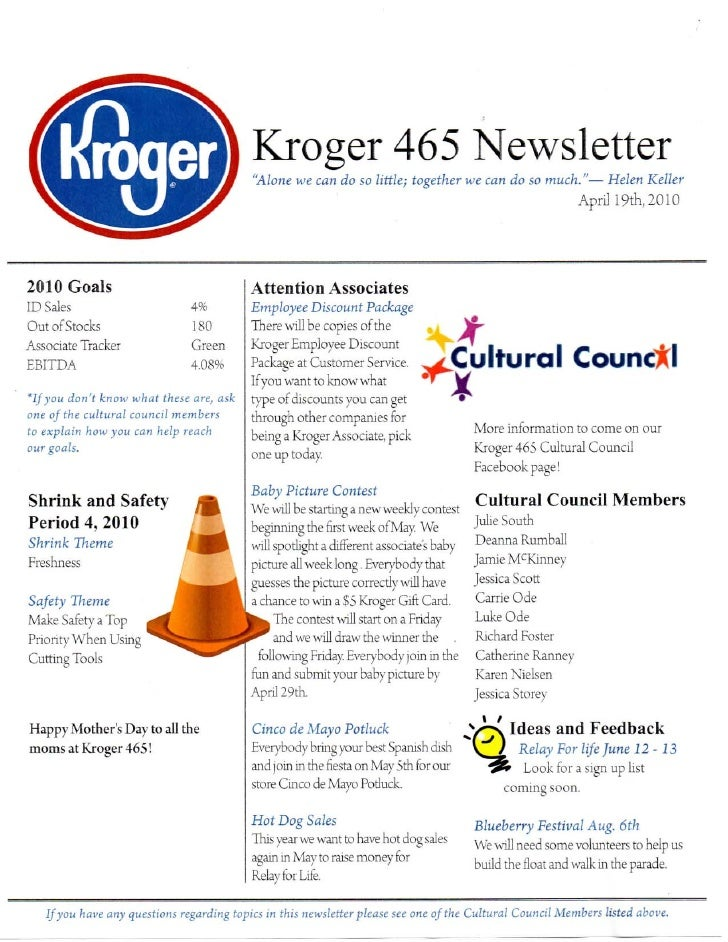 Kroger465 Apr2010 Newsletter