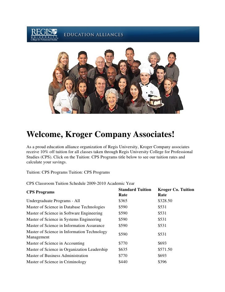 Welcome, Kroger Company Associates! As a proud education alliance organization of Regis University, Kroger Company associa...