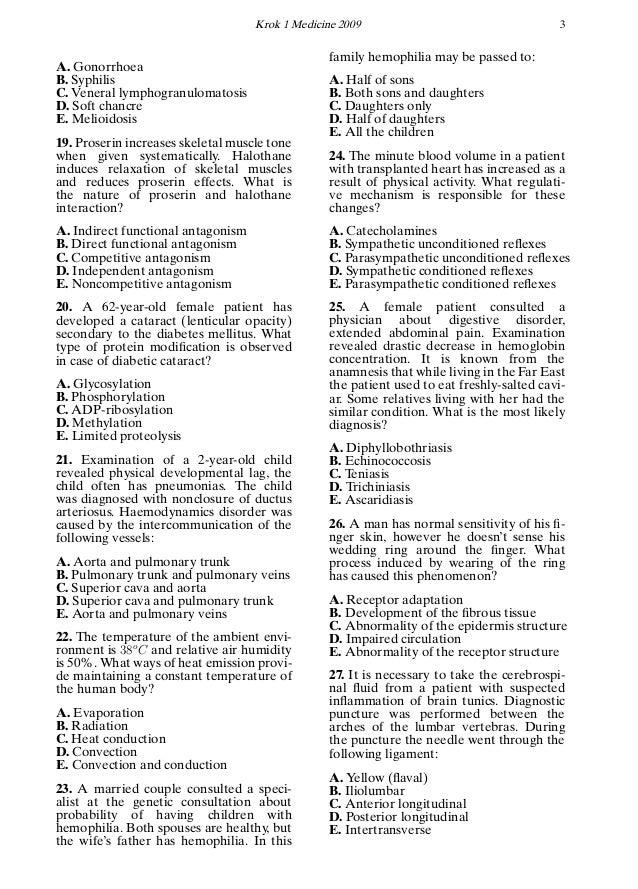 Krok 1 Medicine 2009 3 A. Gonorrhoea B. Syphilis C. Veneral lymphogranulomatosis D. Soft chancre E. Melioidosis 19. Proser...