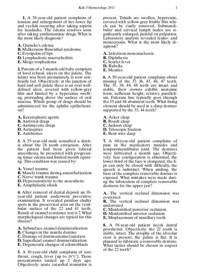 Krok 2 - 2011 Question Paper (Stomatology)