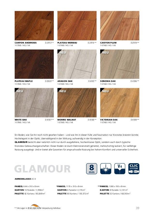 Karton Laminatboden Kronotex Serie Exquisit; 8 mm stark; D 3070 Nussbaum Toskana; AC 4; V4; 1-Stab; 2,131 m/²