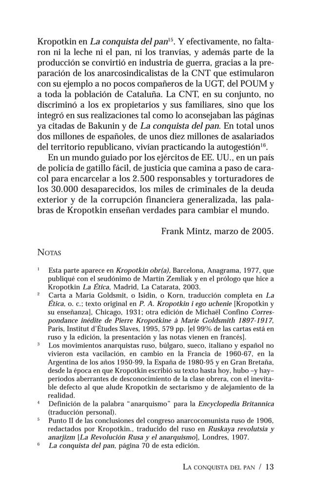 14 / PIOTR KROPOTKIN 7 Nota 5 punto III. 8 El Imperio knuto-germánico (fragmentos), Œuvres, t.8, p. 345 [manus- crito de 2...