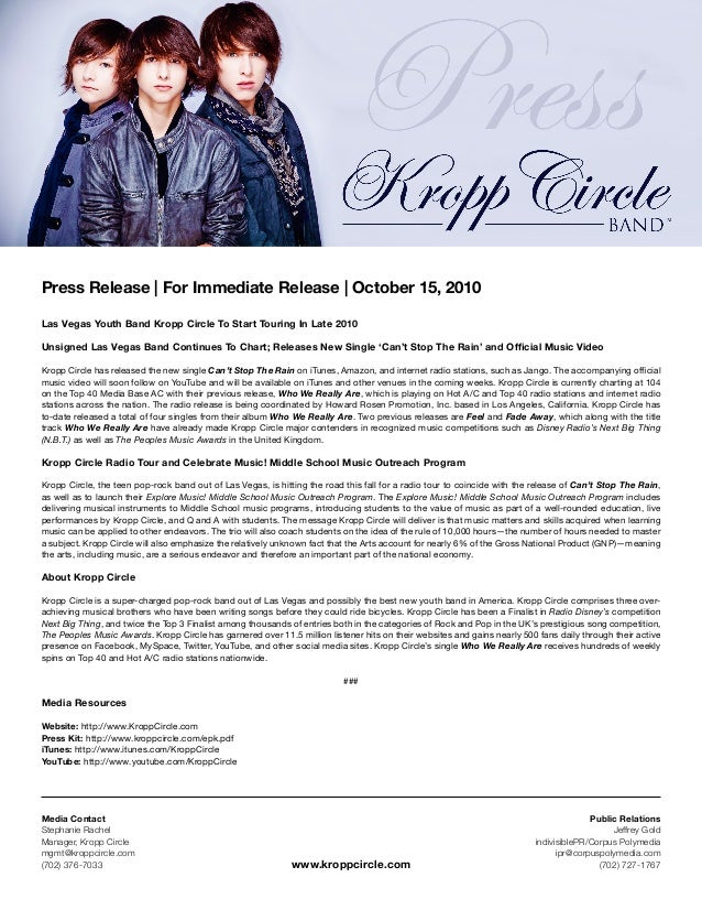 Press Release | For Immediate Release | October 15, 2010 Las Vegas Youth Band Kropp Circle To Start Touring In Late 2010 U...