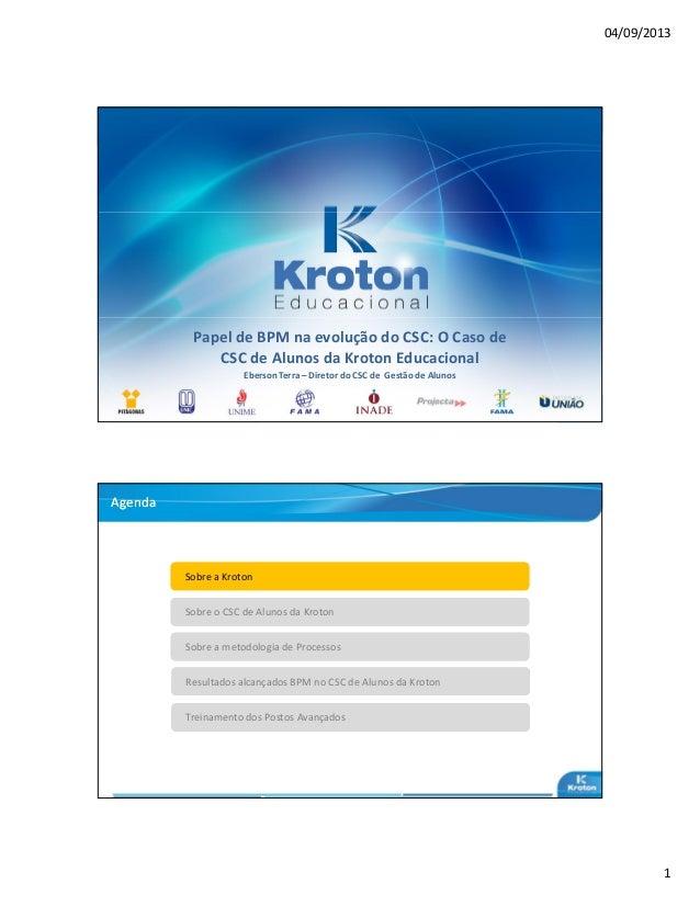 04/09/2013 1 Papel de BPM na evolução do CSC: O Caso de CSC de Alunos da Kroton Educacional Eberson Terra – Diretor do CSC...