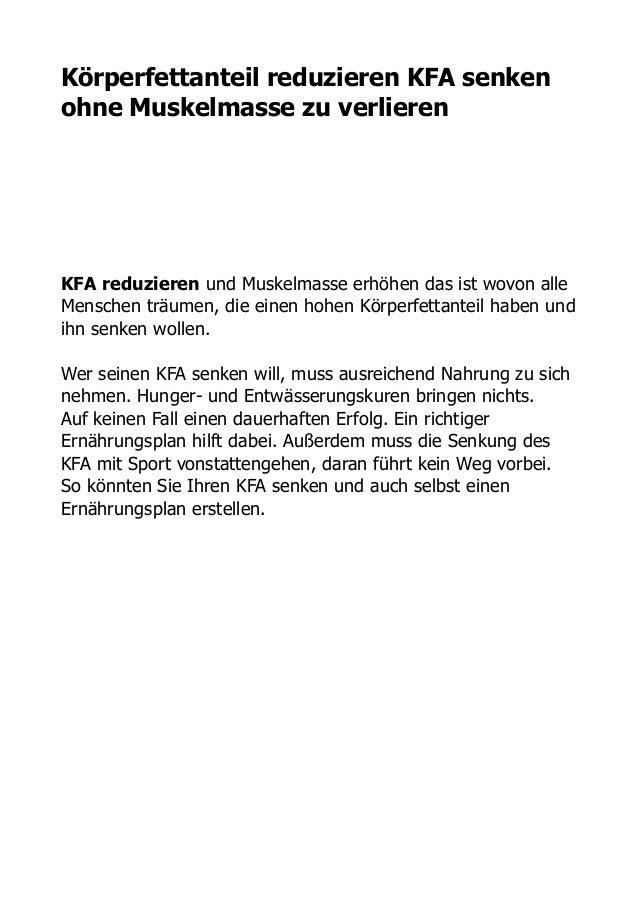 Körperfettanteil reduzieren KFA senken ohne Muskelmasse zu verlieren ! ! ! ! ! KFA reduzieren und Muskelmasse erhöhen das ...