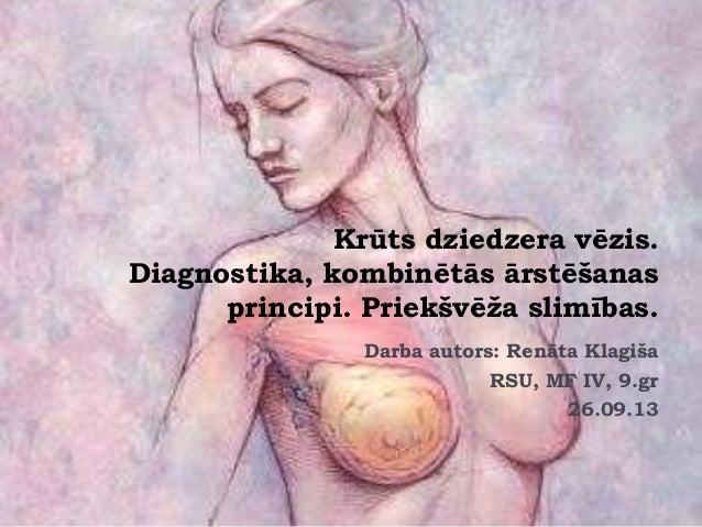 Krūts dziedzera vēzis. Diagnostika, kombinētās ārstēšanas principi. Priekšvēža slimības. Darba autors: Renāta Klagiša RSU,...
