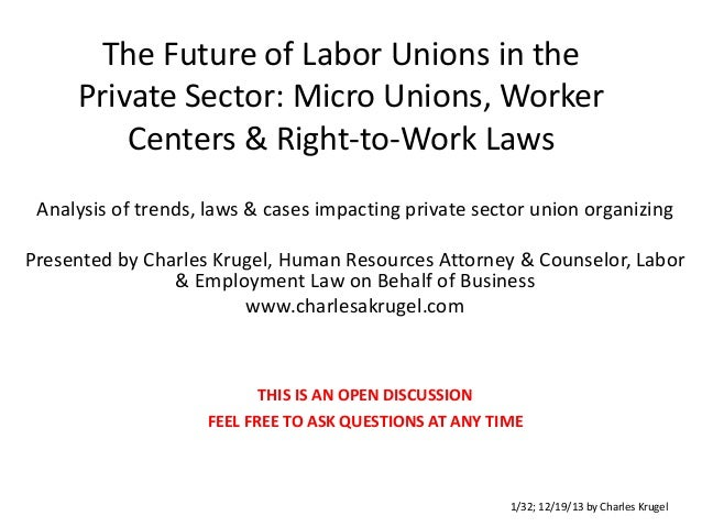 The Future of Labor Unions in the Private Sector: Micro Unions, Worker Centers & Right-to-Work Laws Analysis of trends, la...