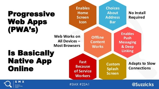 #SMX #22A1 @Suzzicks Progressive Web Apps (PWA's) Is Basically Native App Online Choices About Address Bar No Install Requ...