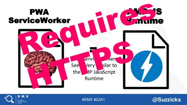 #SMX #22A1 @Suzzicks PWA ServiceWorkers Seem Very Similar to the AMP JavaScript Runtime PWA ServiceWorker AMP JS Runtime =