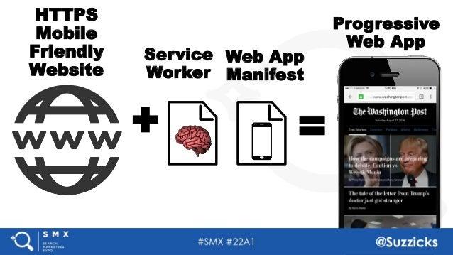 #SMX #22A1 @Suzzicks HTTPS Mobile Friendly Website Service Worker Web App Manifest Progressive Web App =+