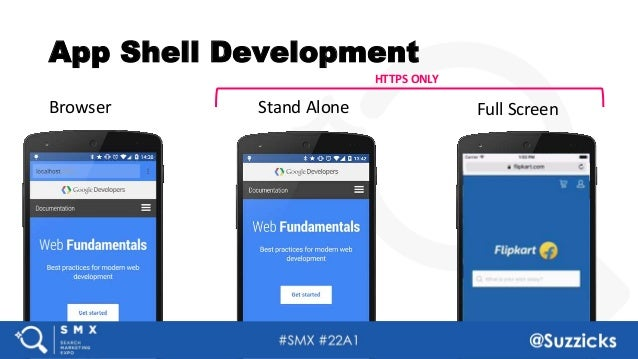 #SMX #22A1 @Suzzicks App Shell Development Browser Stand Alone Full Screen HTTPS ONLY