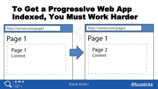 #SMX #22A1 @Suzzicks To Get a Progressive Web App Indexed, You Must Work Harder